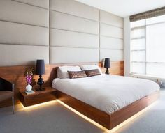 Floating platform bed with led