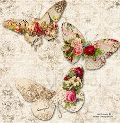 PRINTABLE DIGITAL BUTTERFLY Tags Roses Scrapbooking Journals