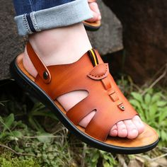 Men Microfiber Leather Adjustabler Heel Strap Soft Casual Beach Sandals - Men Sandals - Ideas of Men Sandals Trendy Sandals, Boho Sandals, Beach Sandals, Men Sandals, Leather Slippers For Men, Womens Slippers, Gents Slippers, Summer Slippers, Best Shoes For Men