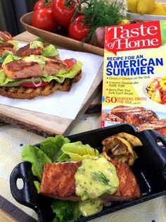 @Cristina Ferrare makes Open-Faced Grilled Salmon Sandwiches from Taste of Home Magazine! #salmon #fish #sandwich #homeandfamily #homeandfamilytv