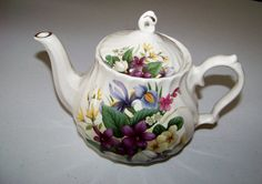 Vintage Crown Windsor Tea Pot Romania Floral Pattern and Gold Trim
