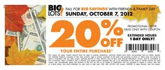 20% off Big Lots Purchase- Sunday Only