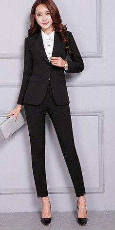Women's Pant and Blazer Suit Simple Long Slim for Business - Business Attire Women Business Attire, Formal Business Attire, Business Professional Outfits, Pantsuits For Women, Stylish Sarees, Pants For Women, Clothes For Women, Work Fashion, Stylish Outfits