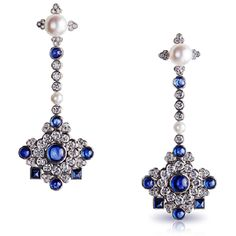 Dentelle de Perles Chandelier Earrings ~ Composed of diamonds and 16 cabochon sapphires, totaling 6.25ct.