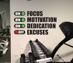 Fitness Motivation Work Out Wall Decal. Excuses Off Gym Wall