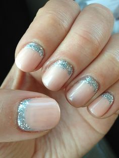Reverse French with glitter
