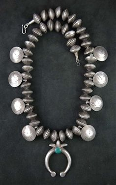 INCREDIBLE OLD COIN SQUASH BLOSSOM NECKLACE