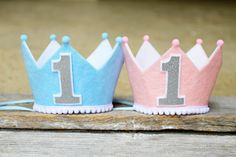 Boy Girl Twin First Birthday Crowns - Felt LaLaLolaShop Etsy