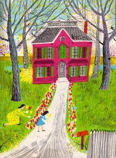 House illustration: Illustrated Ladies — Roger Duvoisin. #illustration #houseillustration #art #artwork Roger Duvoisin, Tarot, Happy Children's Day, Book Of Kells, House Illustration, Kids Poster, Kids Room Design, Chalk Pastels, Illuminated Letters