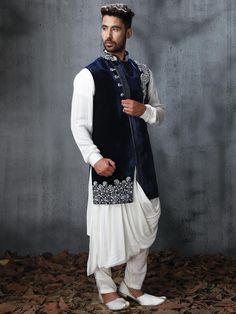 Velvet and silk fabric designer indo western - G3-MIW5838 | G3fashion.com