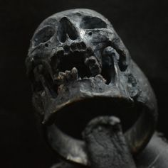 Skull ring Decayed open jaw silver mens skull biker masonic rock n roll gothic handmade jewelry .925 etsy
