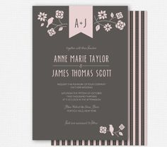 Wedding Invitations by FROM LUCY WITH LOVE https://www.etsy.com/listing/128476775/printable-wedding-invitations-bird