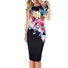 #CHICUU - #CHICUU Elegant Floral Print Bodycon Short Sleeve Women's Midi Dress - AdoreWe.com