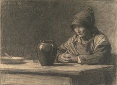 Leon-Augustin L'hermitte The Cider Jug Charcoal on Laid Paper 40.48 x 55.56 cm…