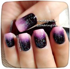 Nail art Christmas - the festive spirit on the nails. Over 70 creative ideas and tutorials - My Nails Purple Nail Art, Pink Glitter Nails, Sparkle Nails, Black And Purple Nails, Black Ombre, White Glitter, Deep Purple, Diy Nail Designs, Acrylic Nail Designs