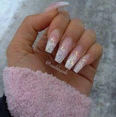 nails white and pink nails white nails white tip nails white design nails white glitter nails white and gold nails white and pink nails white ombre nails white and black Summer Acrylic Nails, Cute Acrylic Nails, Sparkle Acrylic Nails, Acrylic Nail Designs Glitter, Acrylic Nails Coffin Glitter, Silver Nail Designs, Holographic Nails, Gold Nails, Glitter Tip Nails