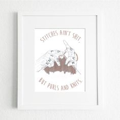 Art Print from Original Watercolour and Pencil Illustration by Katie Munro 'Stitches Ain't Shit' Wall Art, Home Decor by KatieMunroPrints on Etsy Pencil Illustration, Watercolour, Stitches, Art Prints, Wall Art, The Originals, Knitting, Unique Jewelry, Frame