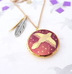 Spread Your Wings Locket Necklace Gold