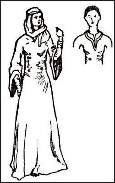 Costume Drawing - A WOMAN  IN A WIMPLE -  WILLIAM I