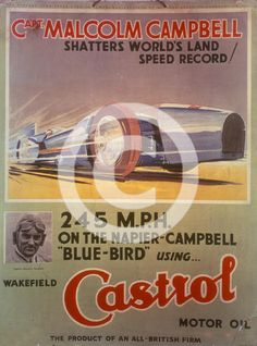 1930s beach posters | Price an image of Poster advertising Castrol oil, featuring Bluebird ...