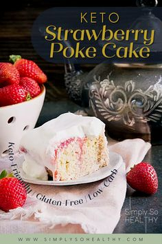 This Keto-Friendly Strawberry Poke Cake is low carb, but made with real strawberries. If you're looking for a keto poke cake recipe without artificial ingredients, but still tastes delicious, this is the recipe for you! 🍓🍰😋 #lowcarbcake #ketodessert #lowcarb #keto #ketogenic #diabeticdiet #healthyrecipe Healthy Cake Recipes, Poke Cake Recipes, Baking Recipes, Diet Recipes, Dessert Recipes, Low Carb Sweets, Low Carb Desserts, Healthy Sweets, Healthy Eating