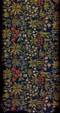 "Millefleurs textile by William Morris, 1912-14. This design was based on Flemish millefleurs tapestries, 52.5 x 120 cm (21 x 48"")"
