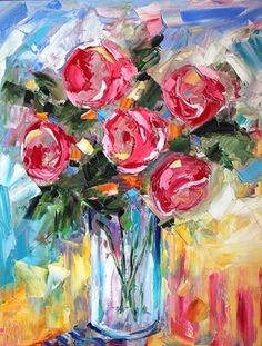 Beauty in the Thorns . What's in your Basket? . Daily Roses are blooming . Roses in a White Vase by Laurie Pace, painting by artist Laurie Justus Pace