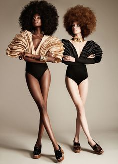 """Madisin and Ira in """"Disco Queens"""" by Matallana for Fashion Gone Rogue, February 2015"""