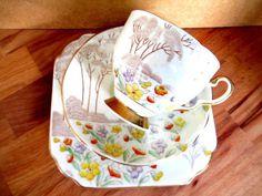 Art Deco / Vintage China Tea Set Trio.Gladstone China.George Proctor.5353British China Tea Sets, Gladstone, Vintage China, Deco, Tea Cups, Tableware, Vintage Decor, Art Deco, Dinnerware