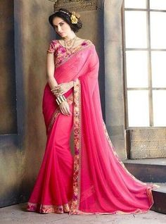 3eea5ec7026 Pink Color Georgette Festival   Function Wear Sarees   Reema Collection  (Includes Two Blouses)