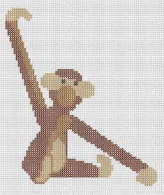 Monkey Kay Bojesen perler pattern by Pia Petrea Hama Beads Design, Hama Beads Patterns, Beading Patterns, Beaded Cross Stitch, Cross Stitch Embroidery, Cross Stitch Patterns, Hama Mini, Cross Stitch Animals, Bead Art
