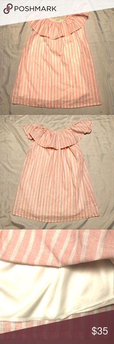 NWOT Newbury Kustom off shoulder top shirt M NEW NWOT TCEC Newburyport Kustom off shoulder top shirt sz M NEW. Pink with white stripe. This is very similar to the blue and white top I have listed except this one is lined. Newbury Kustom Tops
