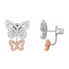 Graceful butterflies, Sterling silver and CZ earrings. 14kt. Gold plated over sterling silver. Doubl
