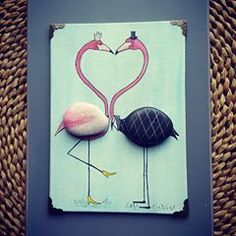 #love #flamingo #flamingolove #valentines #valentinesday #pebbleart #madewith❤ #handpainted #handmade #couple #rockpainting #madebyhand #paintedstones #pebbleart #giftideas