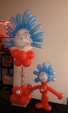 Thing 1 and thing 2 balloon sculptures by rosielloons
