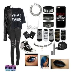 """""""Emo? Scene? Goth?"""" by xxweasleygirlxx ❤ liked on Polyvore featuring Fiora, Casetify, Boohoo, Converse, Wet Seal, Yves Saint Laurent and Stila"""