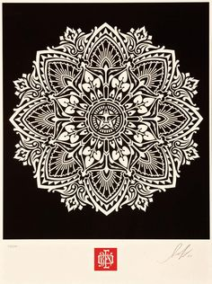 This is a design made by Shepard Fairey of Obey Propaganda.  In this piece he uses many shapes included circles, triangles, octagon, polygons, half circles, rectangles, and even a star.  He is well known for creating these patterns of shapes that have a very structured flow and are always surrounding his design of Andre the Giant's face.  The effect of all of the shapes surrounding each other almost give the piece a religious theme to it, or a way for the artist tp expresse the cycle of…