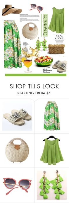 """""""Espadrilles I"""" by stellina-from-the-italian-glam ❤ liked on Polyvore featuring Club Monaco, TIKI, bag, straw, summerstlye, shopwithstellina and esadrilles"""