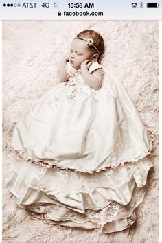buff/ecru silk christening gown 6 mo by SmockingByGinaBug on Etsy