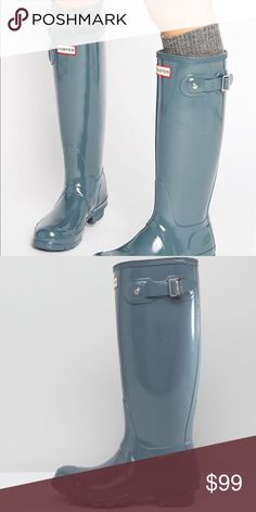 Hunter Original Tall Gloss Wellington Boots Brand new in box. Color is graphite. Hunter Shoes Winter & Rain Boots