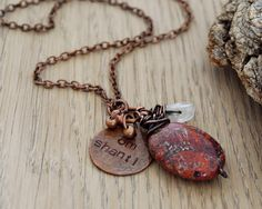 Om+shanti+yoga+necklace+with+red+jasper+and+quartz++yoga+by+OmSaha,+$41.00
