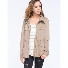Ashley Flap Front Womens Anorak Jacket ($40) ❤ liked on Polyvore featuring outerwear, jackets, khaki, drawstring jacket, flap jacket, anorak jackets, khaki jacket and collar jacket