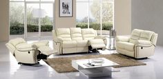 Ivory Leather Dual Reclining Sofa Loveseat Recliner Motion Living Set