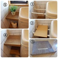 A great option for renters. A few tension rods between the toilet and wall. Add a piece of wood and you have yourself a shelf Diy Storage, Bathroom Storage, Small Bathroom, Rv Bathroom, Extra Storage, Small Space Organization, Home Organization, Coat Closet Organization, Diy Interior