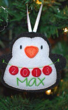 Personalised Christmas tree hanging decoration - ornament plushie stuffie - custom name - 2013 - penguin on Etsy, $7.45