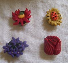4 Floral Button Covers Rose Daisy Violets Cosmos? #Unbranded