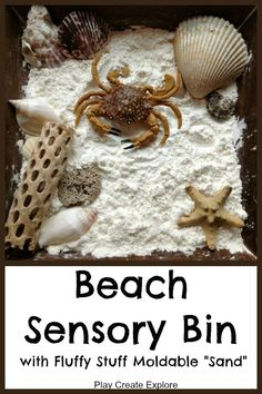 Beach Sensory Bin with Fluffy Stuff Moldable Sand