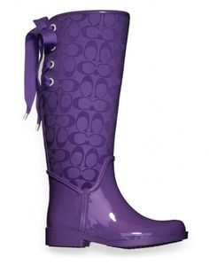 coach colored rain boots   Purple Coach boot. I would wear these all the time if it ever rained ...