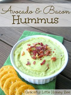 This avocado and bacon hummus is full of creamy, healthy flavor!