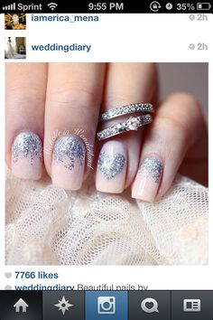 Wedding nails glitter